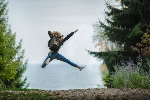 student jumping