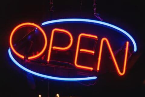 open sign in window